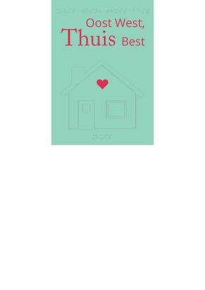 Voelbare wenskaart met braille en reliëf. In braille de tekst: oost west, thuis best. Met voelbare afbeelding van een huis. 1 Gratis kaart per persoon.