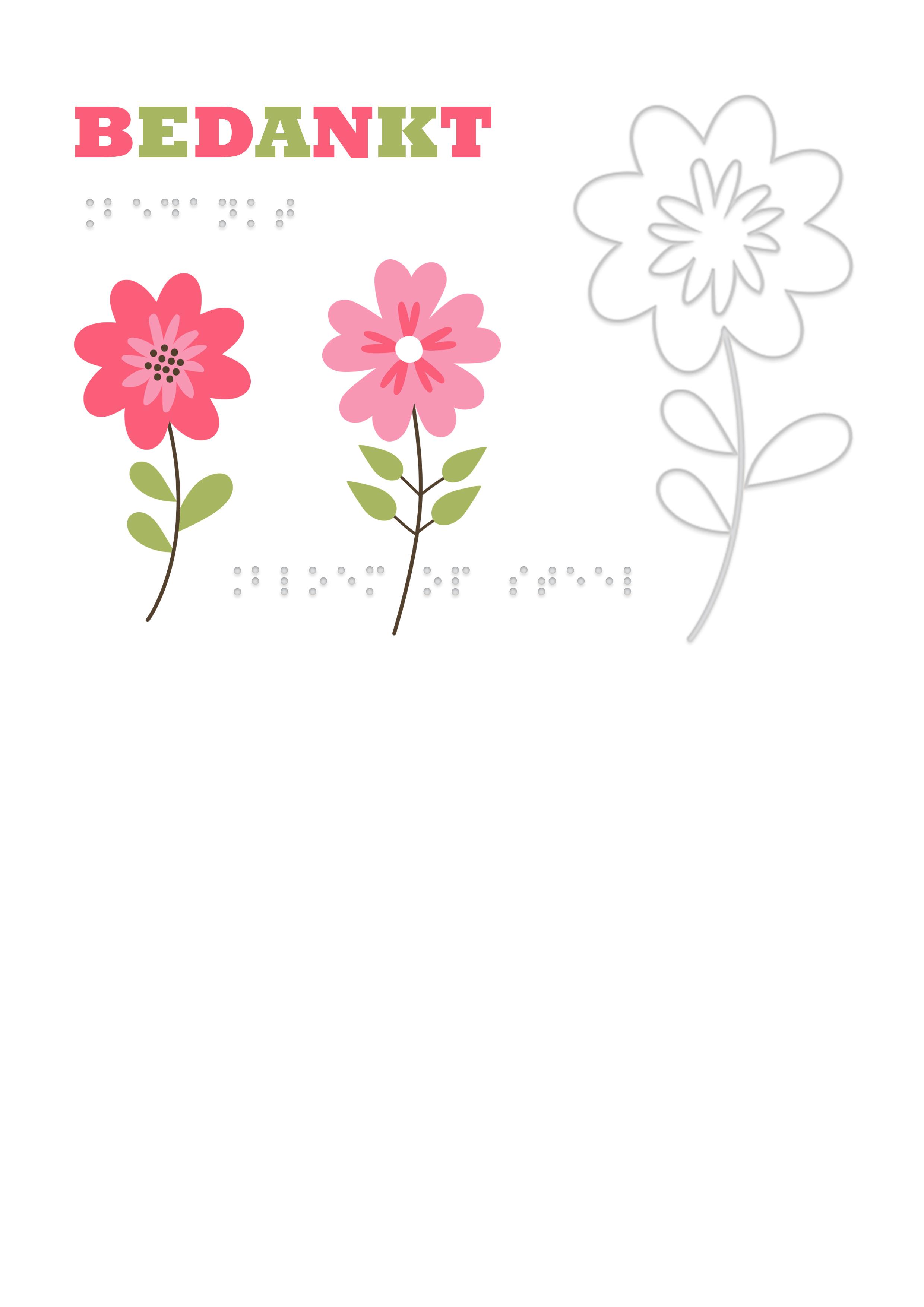 Voelbare wenskaart met braille en reliëf. In braille de tekst: bedankt. Met voelbare afbeelding van een bloem.
