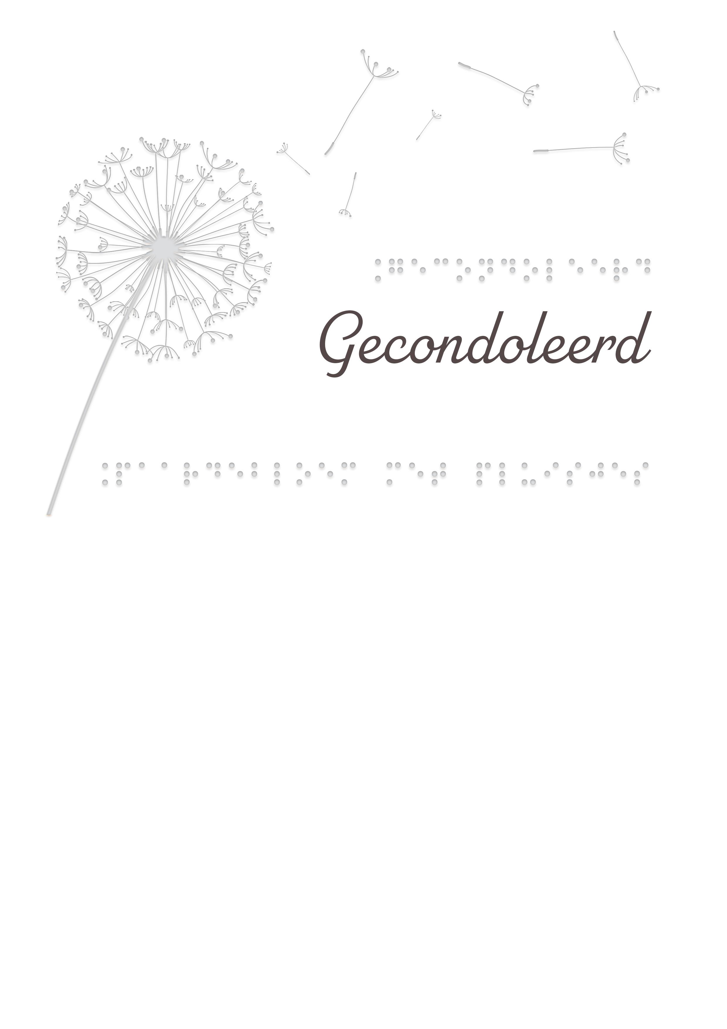 Voelbare kaart met braille en reliëf. In braille de tekst: Gecondoleerd. Met een voelbare afbeelding van een paardenbloem.