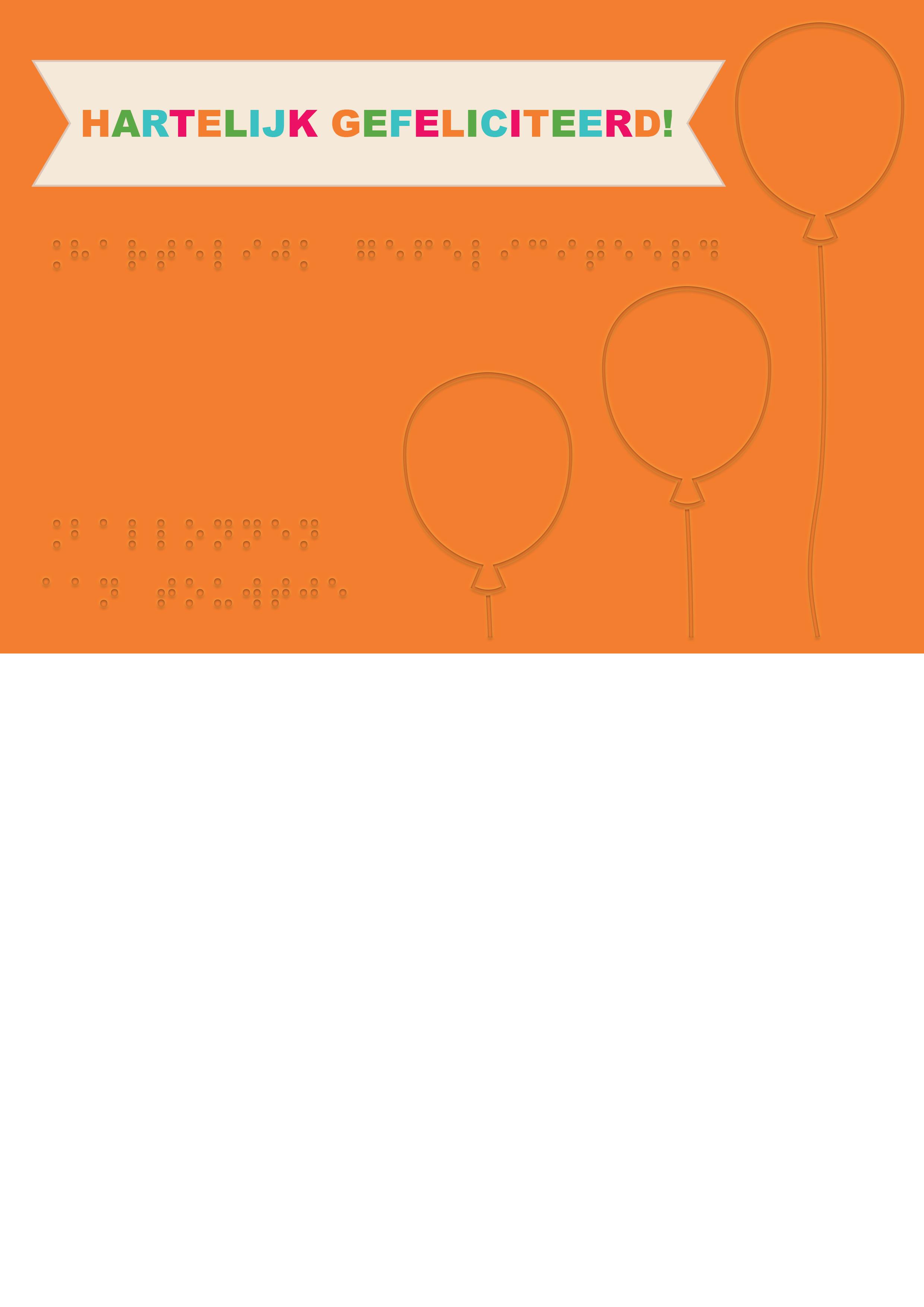 Voelbare wenskaart met braille en reliëf. In braille de tekst: Hartelijke gefeliciteerd! Met voelbare afbeeldingen van ballonnen.