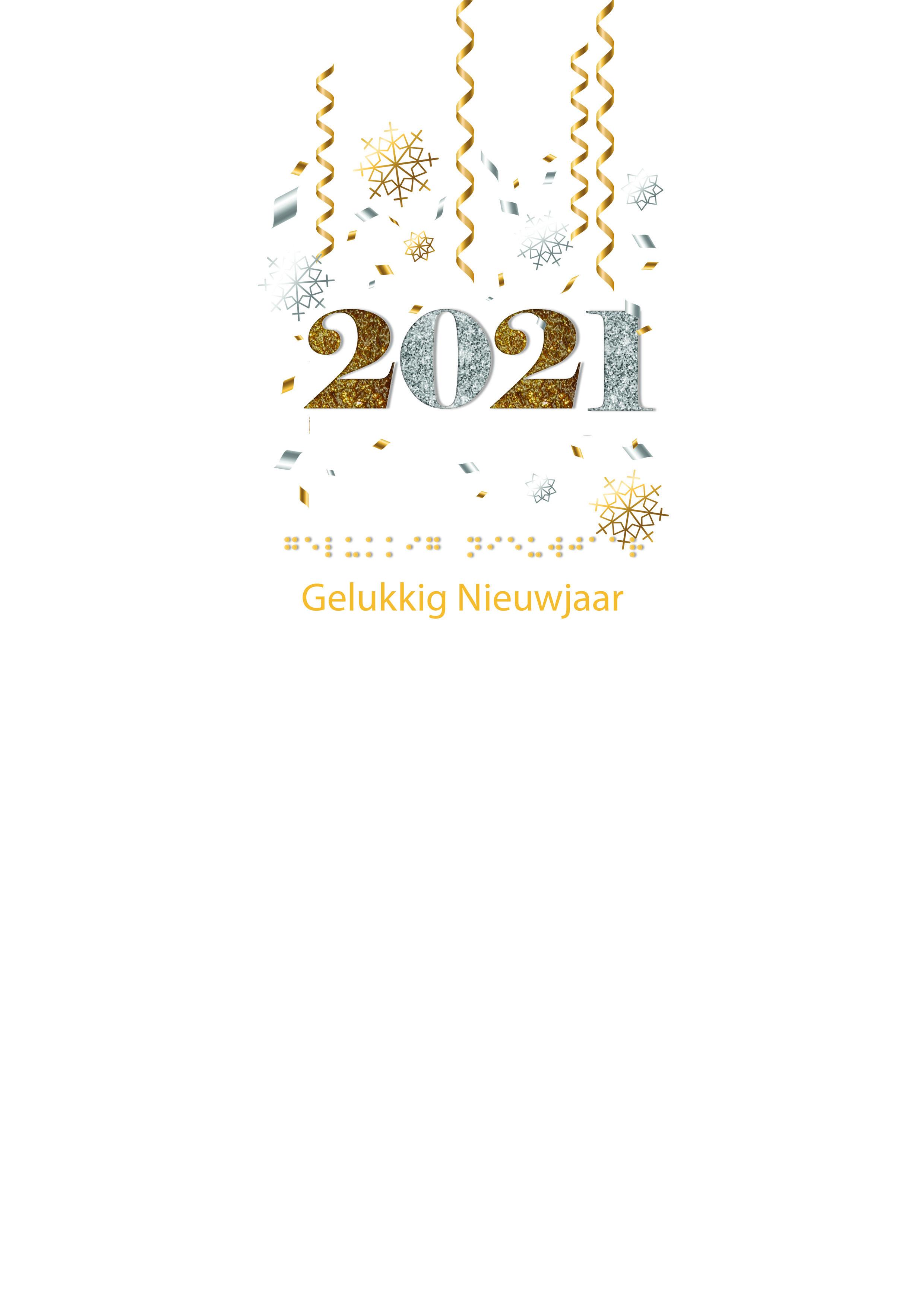 Voelbare kerstkaart met braille en de cijfers 2021 in reliëf tegen een witte achtergrond.