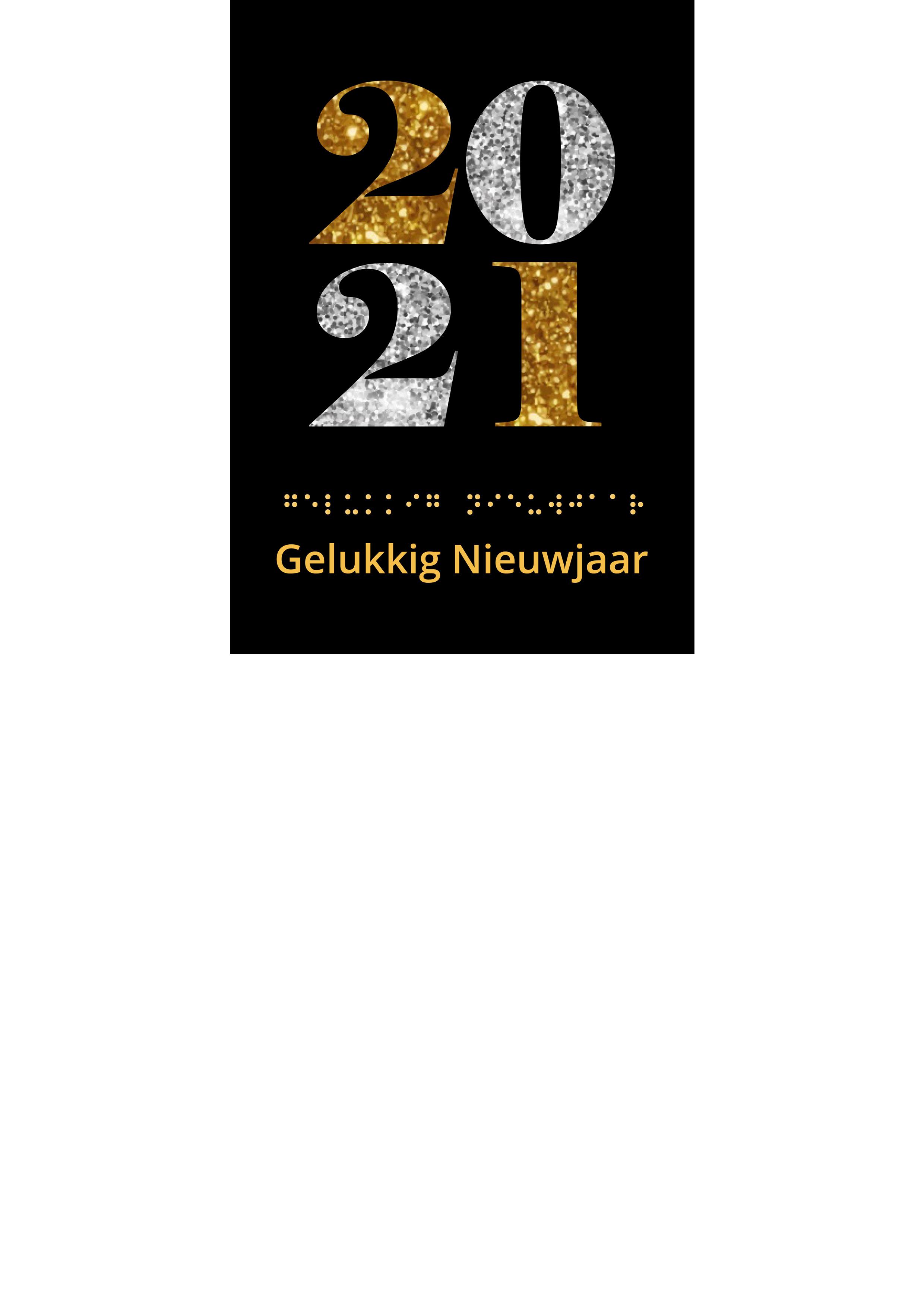 Voelbare kerstkaart met braille en de cijfers 2021 in reliëf tegen een zwarte achtergrond.