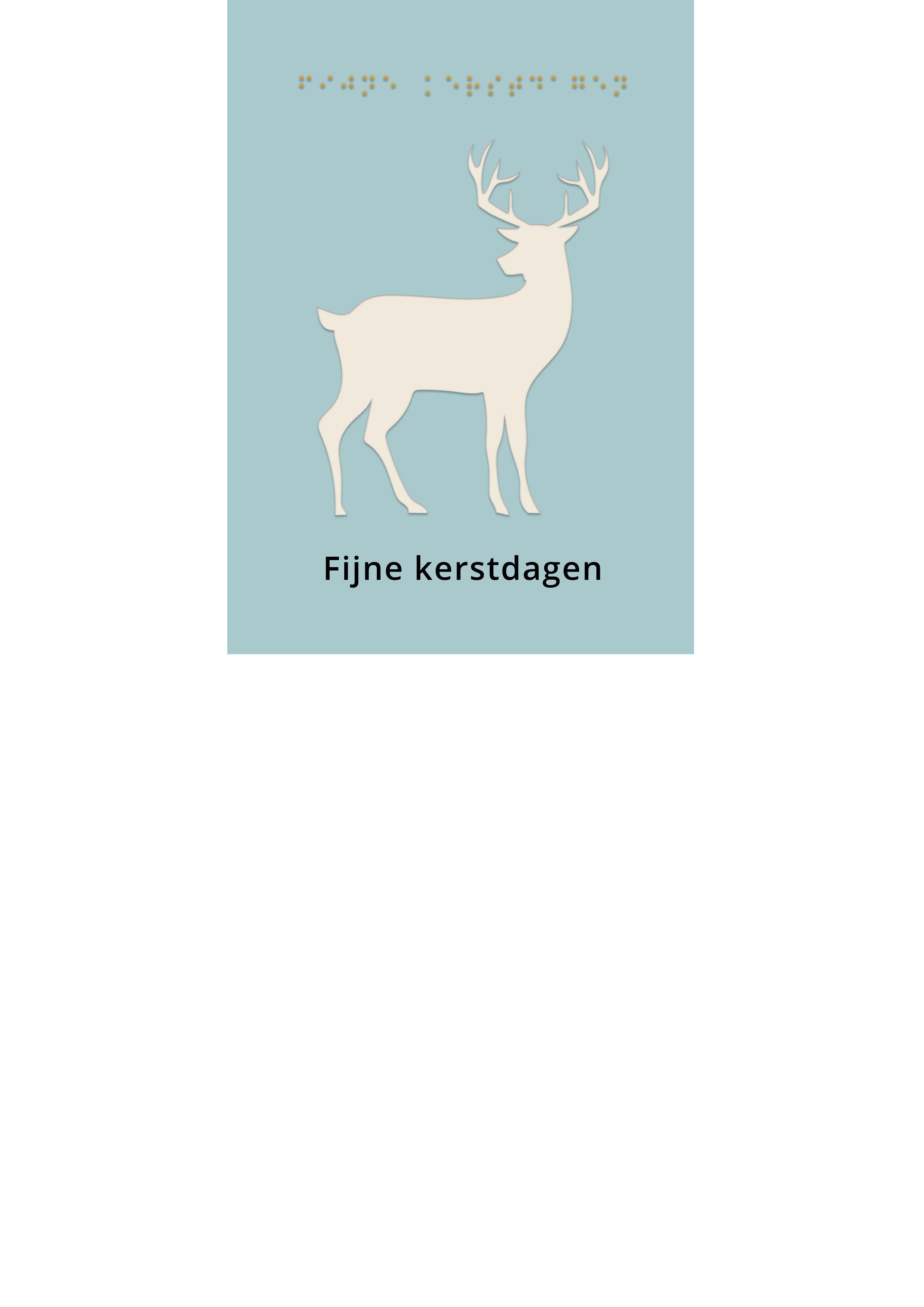 Voelbare kerstkaart met braille en een hert in reliëf tegen een blauwe achtergrond.