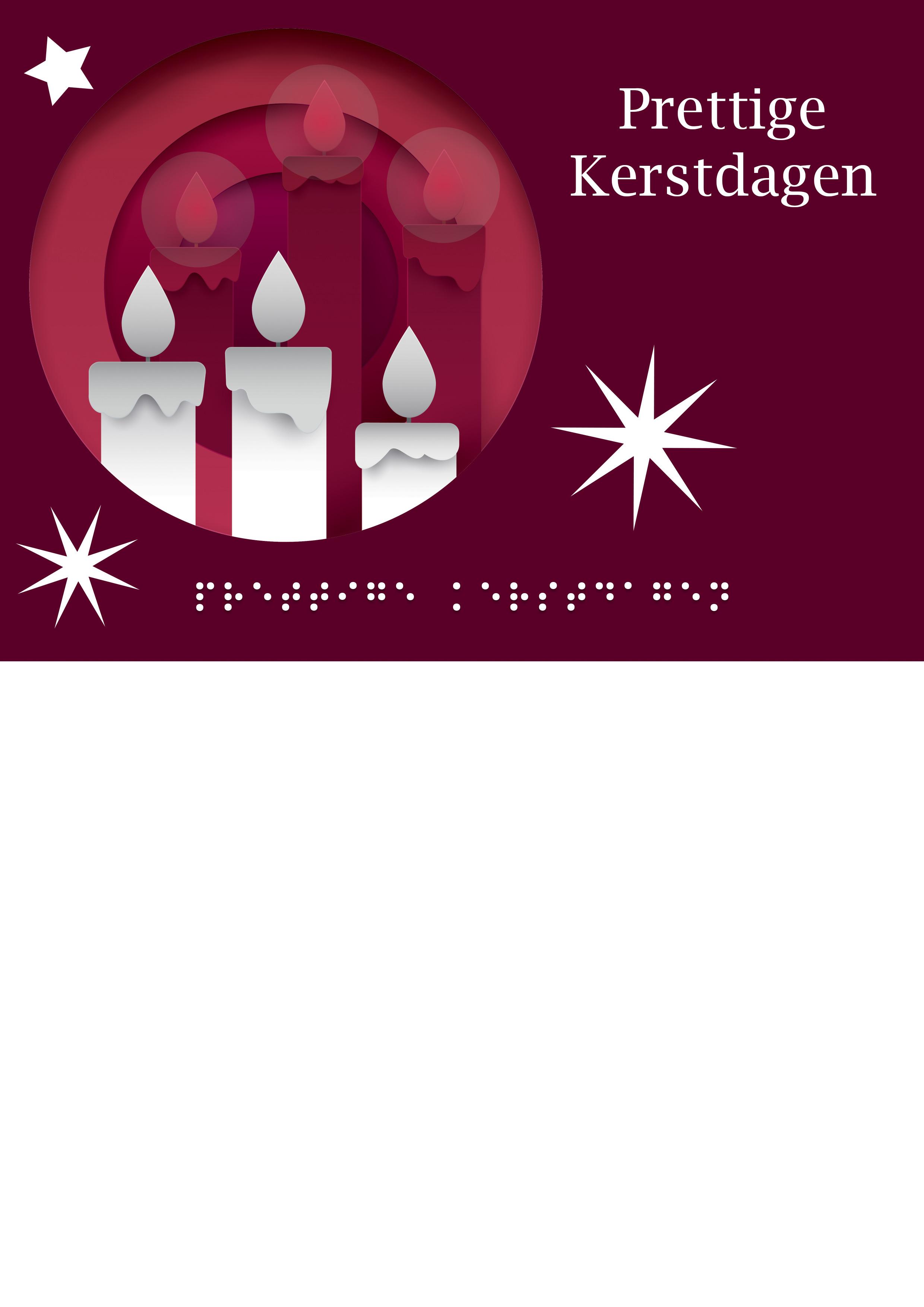 Voelbare kerstkaart met braille en kaarsen in reliëf tegen een rode achtergrond.