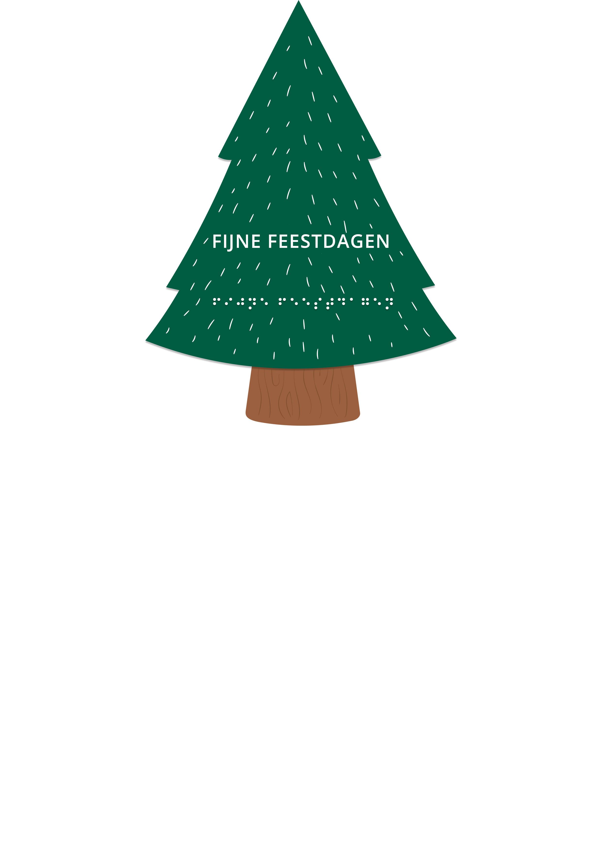 Voelbare kerstkaart in de vorm van een kerstboom met reliëf en voorzien van een lint. De tekst in braille:Fijne Feestdagen.