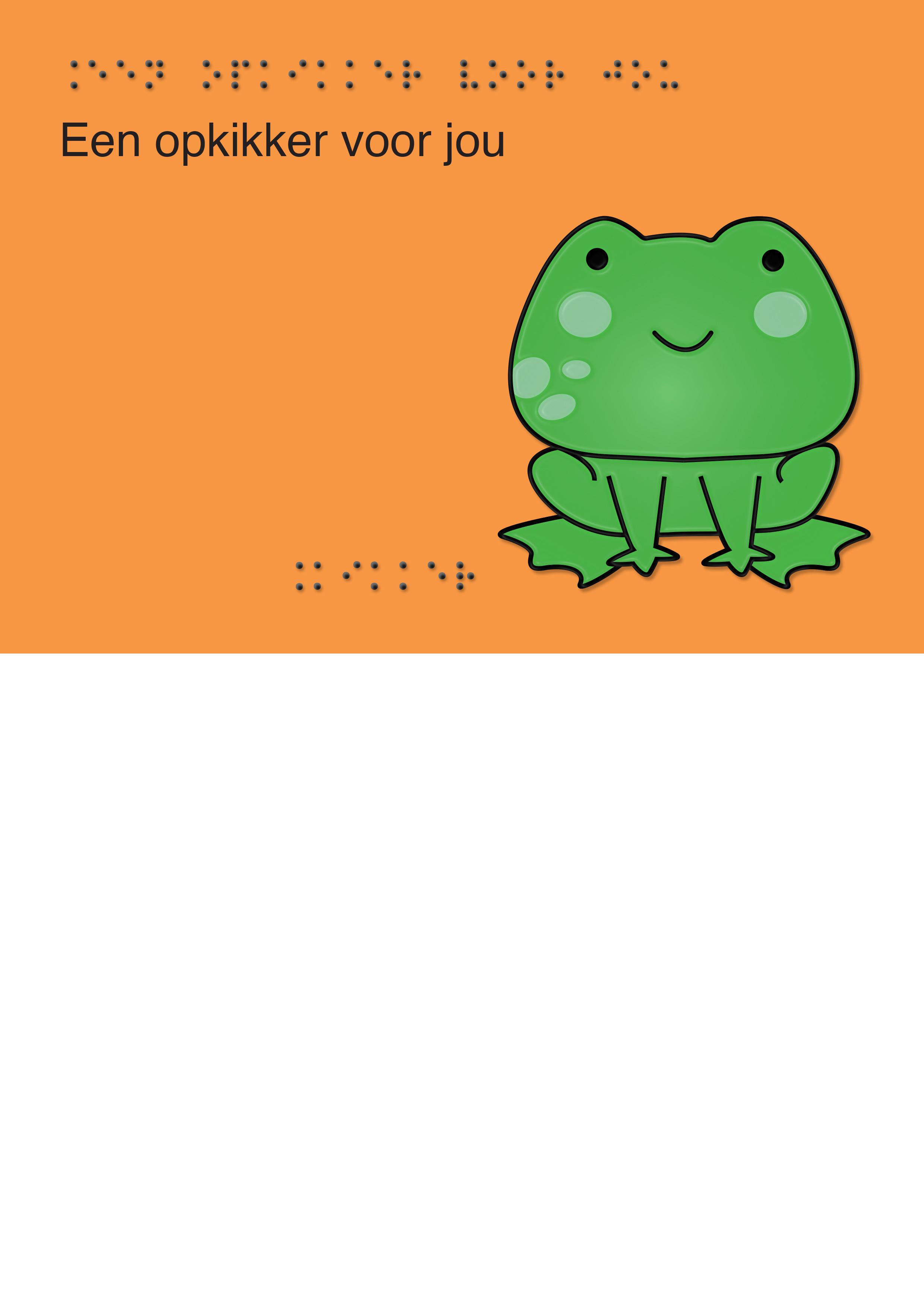 Voelbare wenskaart met braille en reliëf. In braille de tekst: Een opkikker voor jou. Met full color voelbare afbeelding van een kikker.