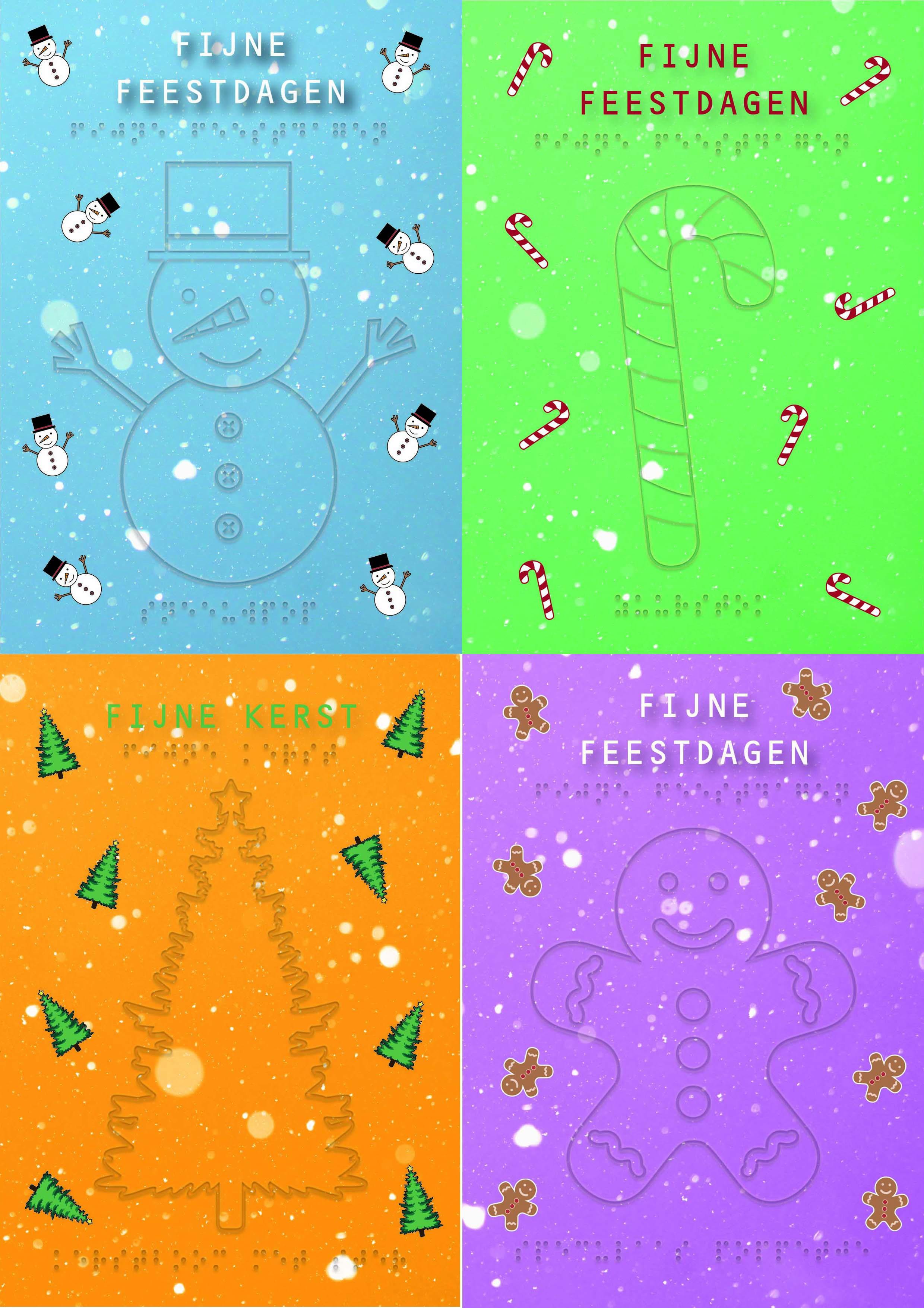 Vier voelbare kerstkaarten met braille en reliëf voor een speciale setprijs. De set bevat kaarten met een sneeuwpop, met een candycane, met een kerstboom en met een gingerbread man. In braille de tekst: Fijne feestdagen of fijne kerst.
