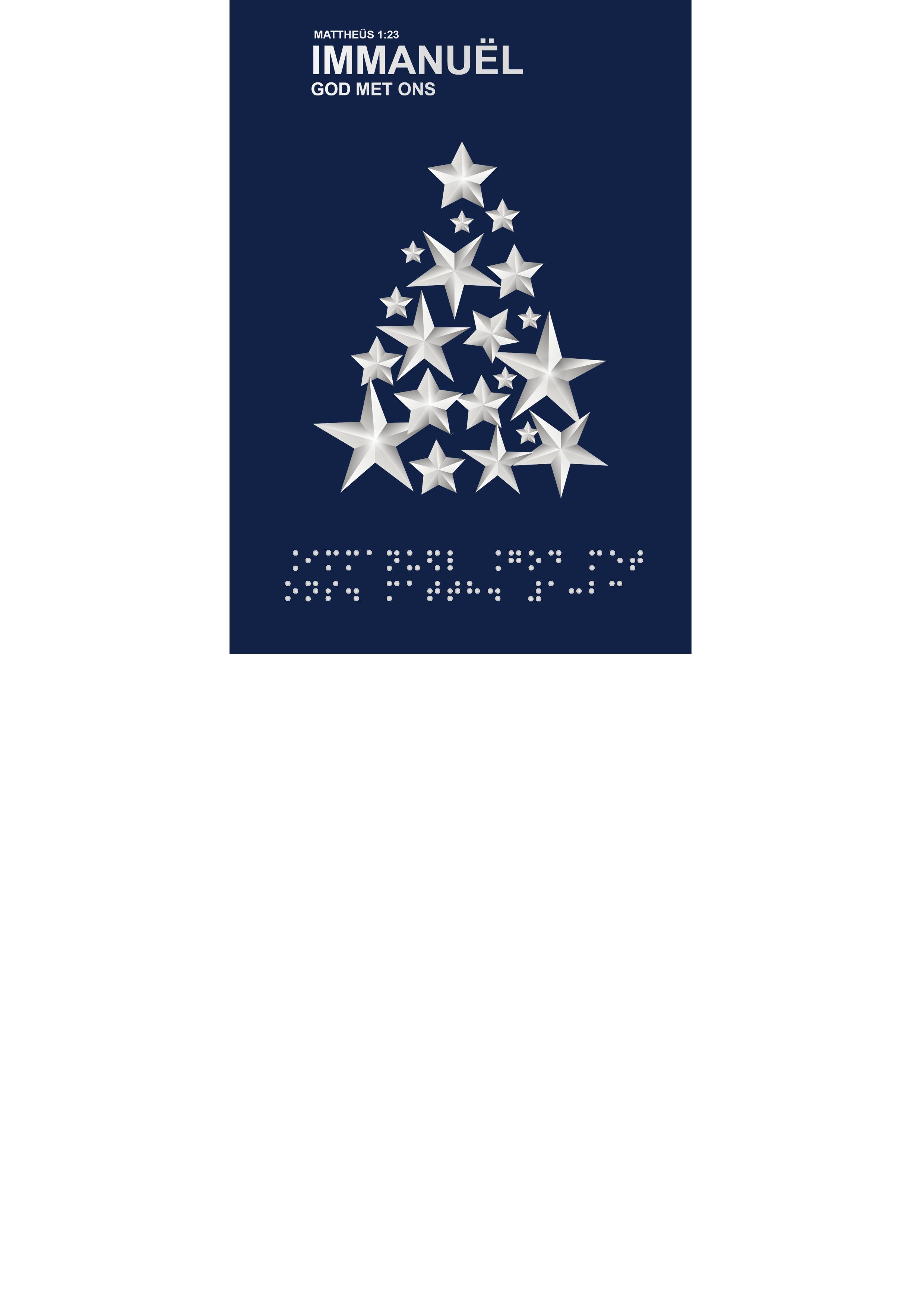 Voelbare wenskaart met braille en reliëf. In braille de tekst: Immanuël, God met ons. Met een voelbare afbeelding van een kerstboom gemaakt van sterren.